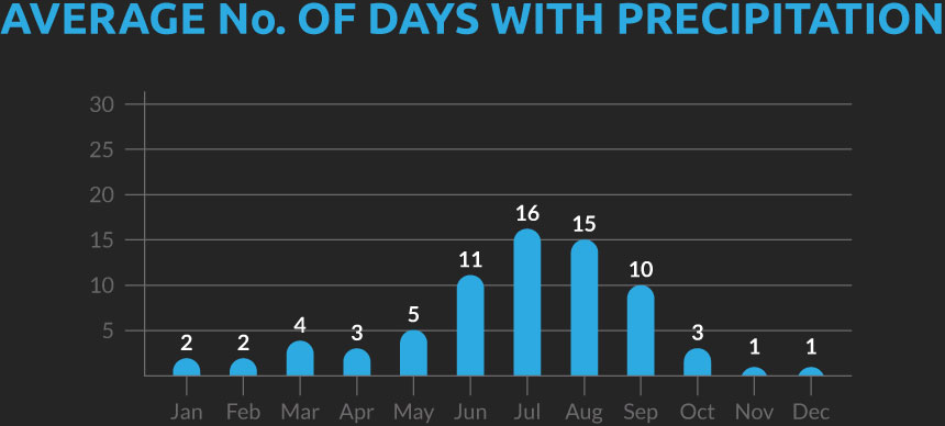 Chart showing the average number of days with precipitation for our Indian Himalayas cycling holiday