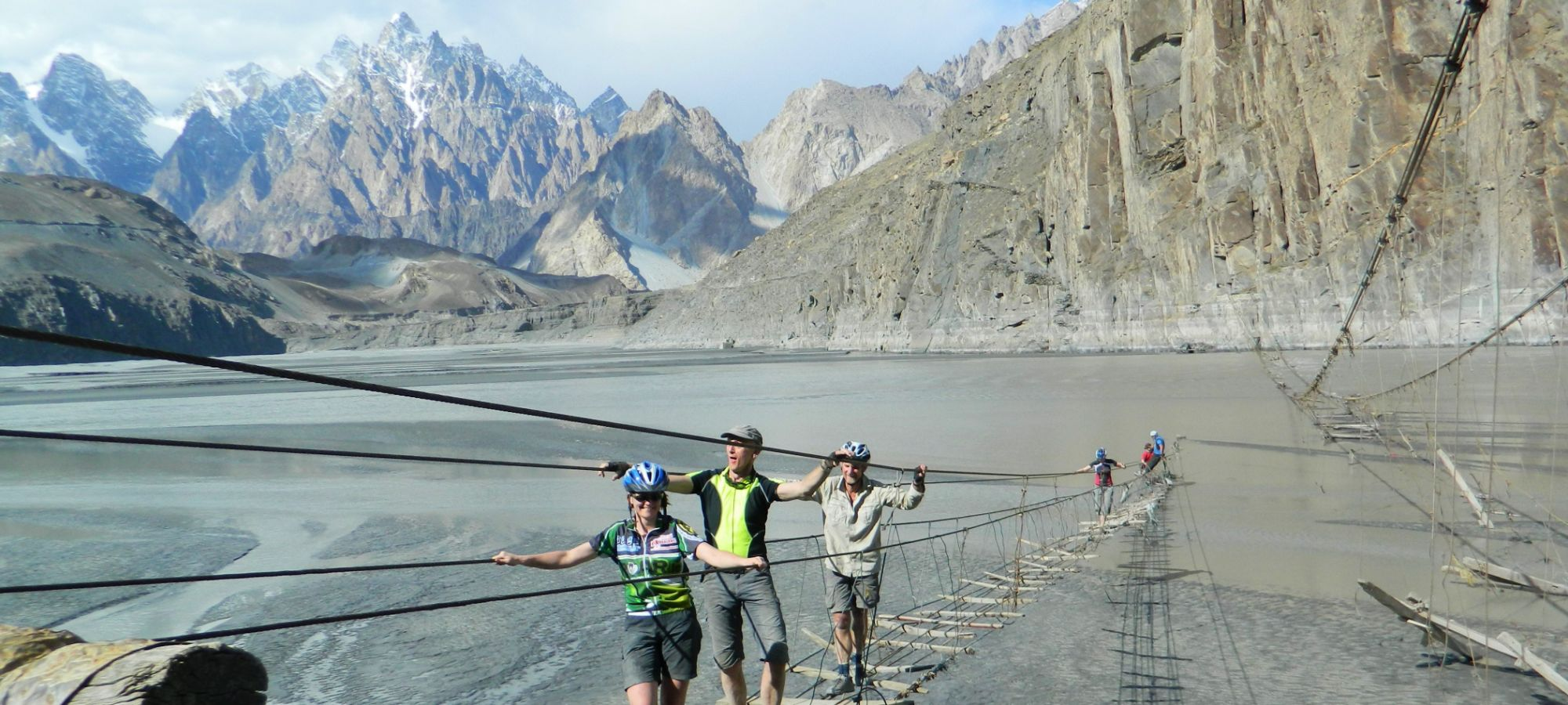 Passu Suspension Bridge, Cathedral mountains background