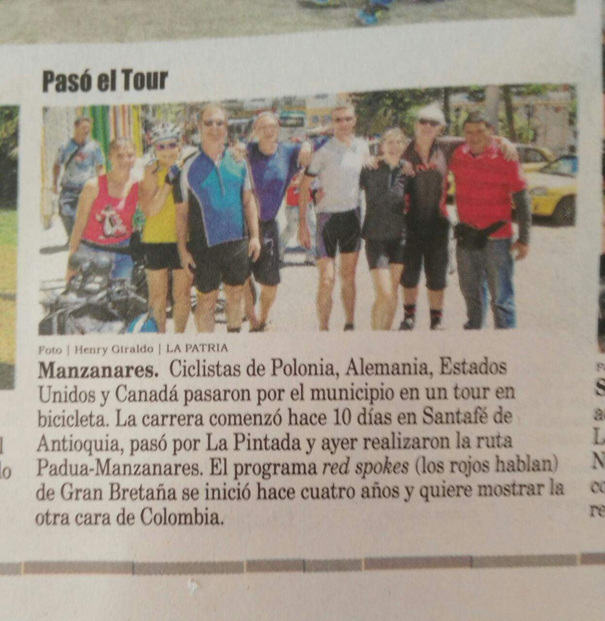 Local press report redspokes Colombia