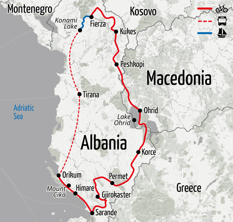 Example route for this Albania cycling holiday