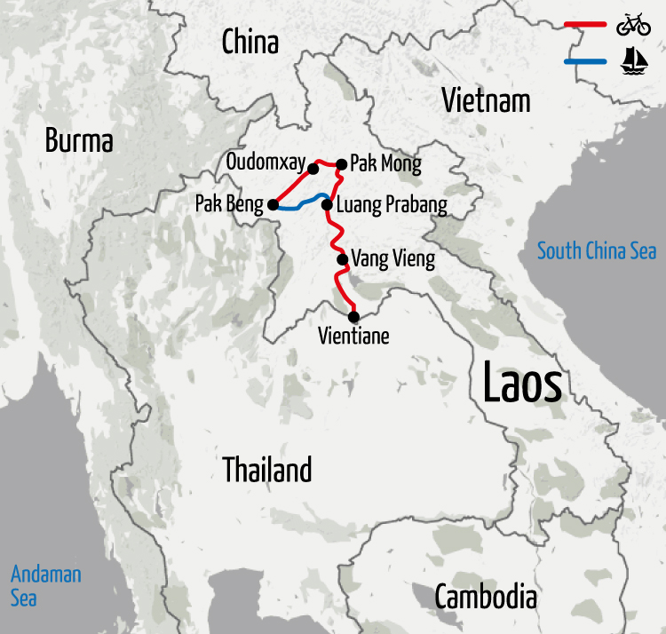 Example route for this Laos cycling holiday