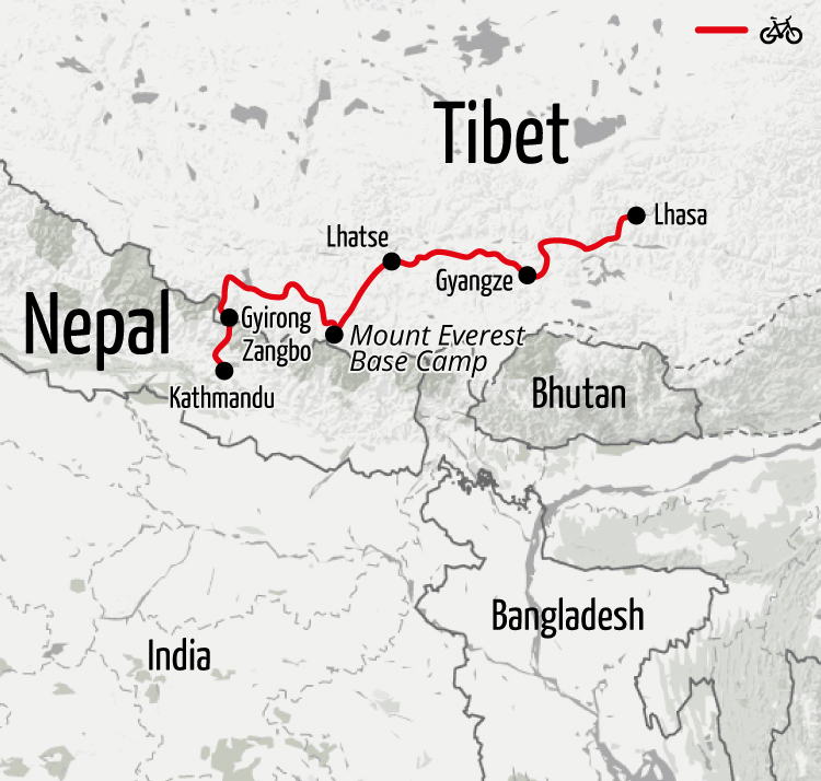 Example route for this Tibet cycling holiday