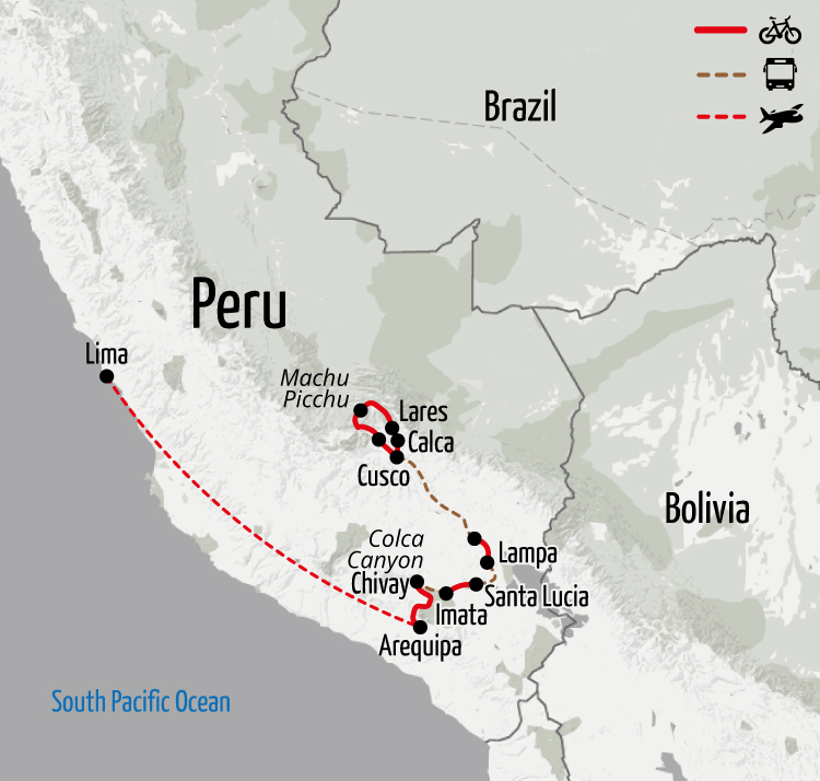 Example route for this Peru cycling holiday