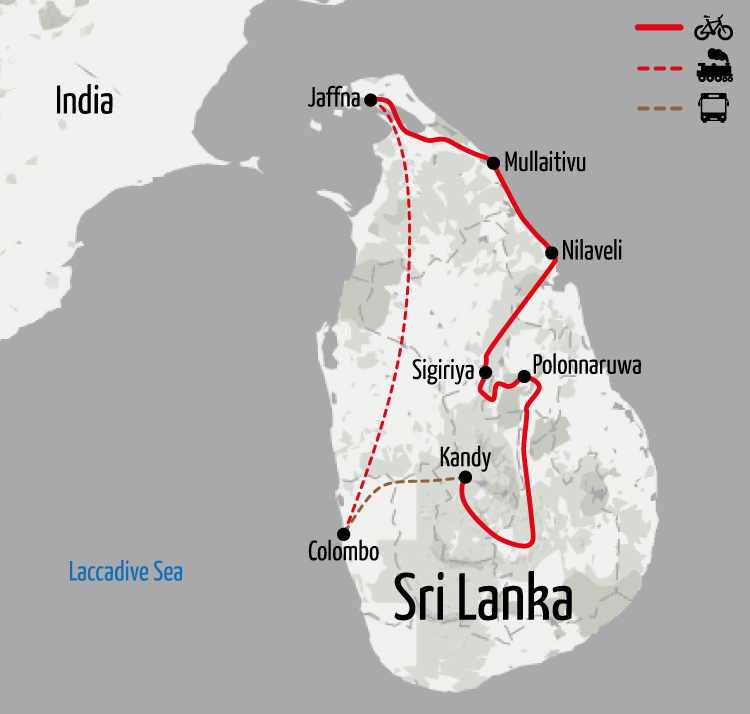 Example route for this Sri Lanka cycling holiday