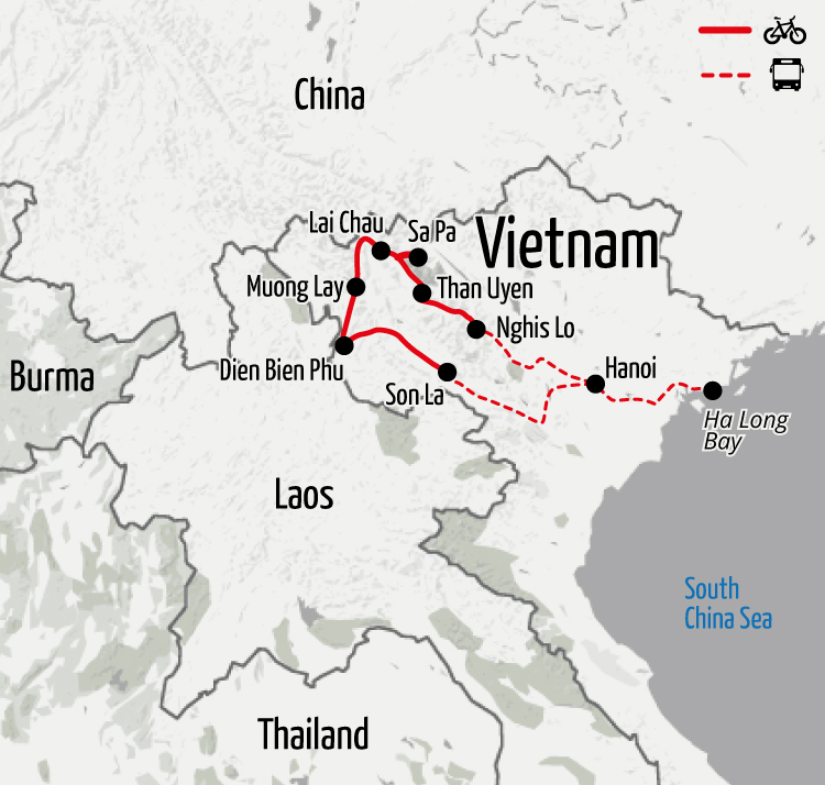 Example route for this Vietnam cycling holiday