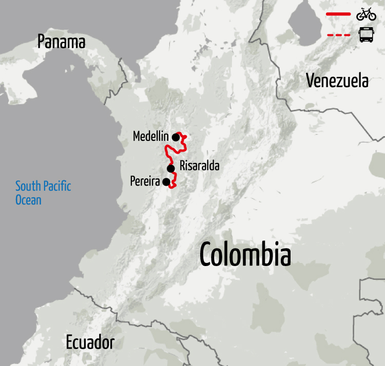 Example route for this Colombia cycling holiday