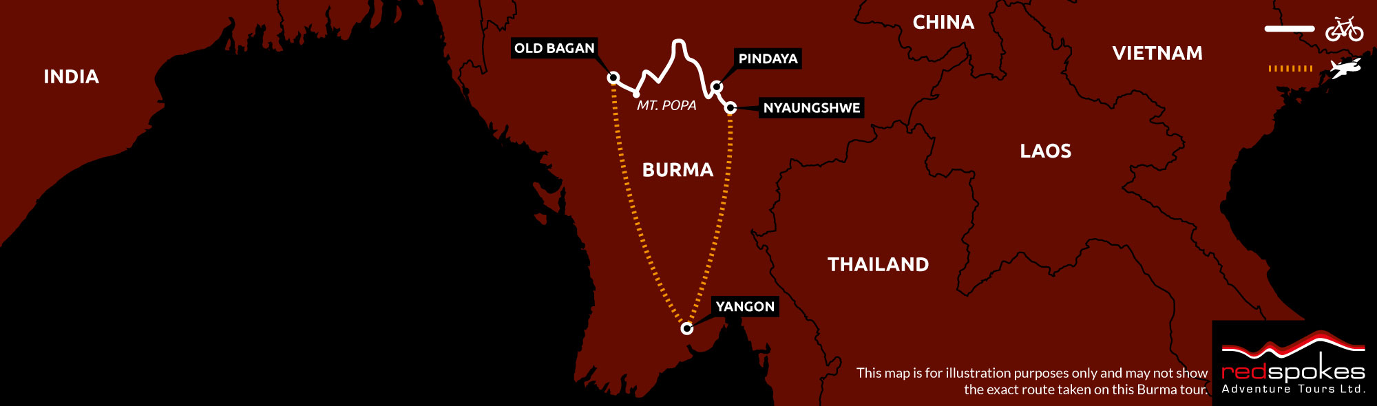 Example route for this Burma cycling holiday