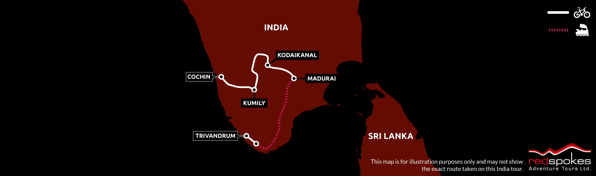 Example route for this India cycling holiday