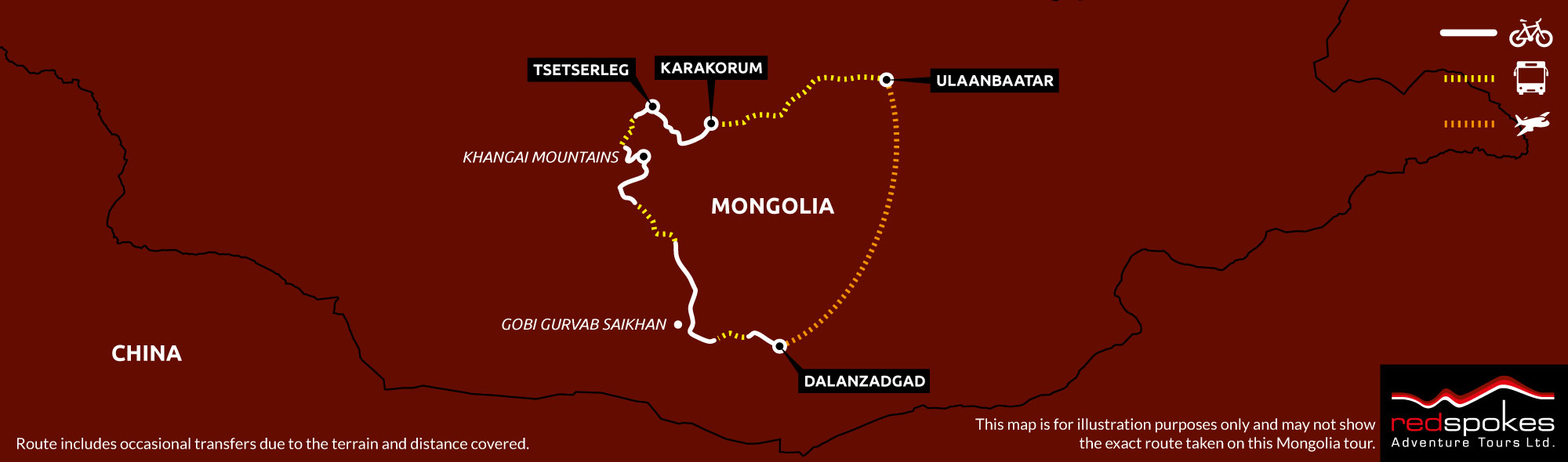 Example route for this Mongolia cycling holiday