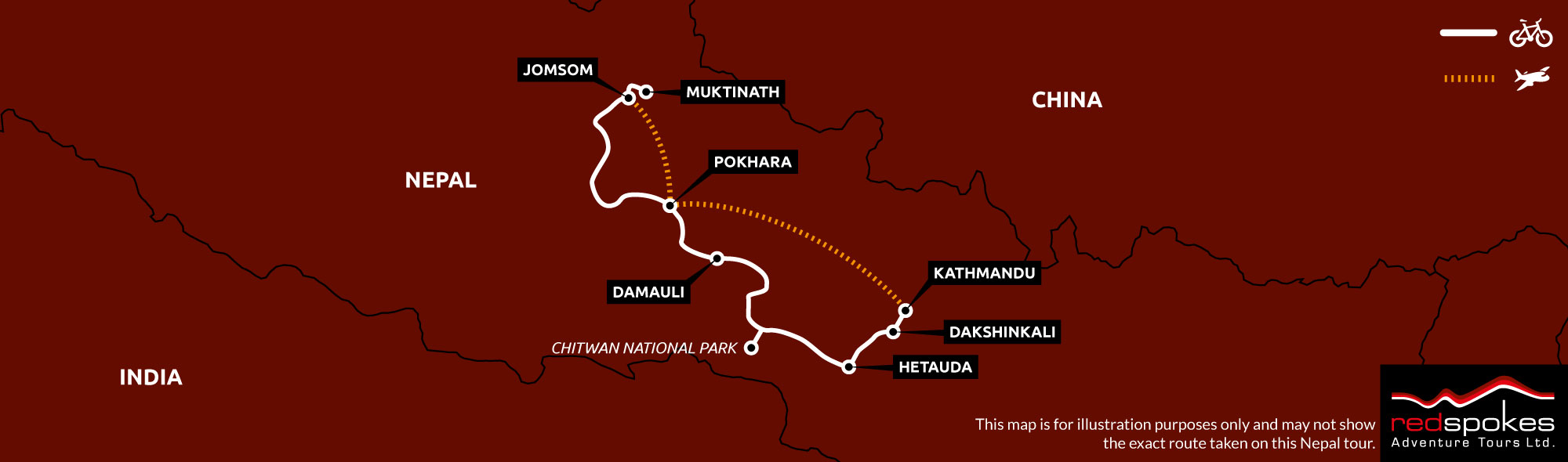 Example route for this Nepal cycling holiday