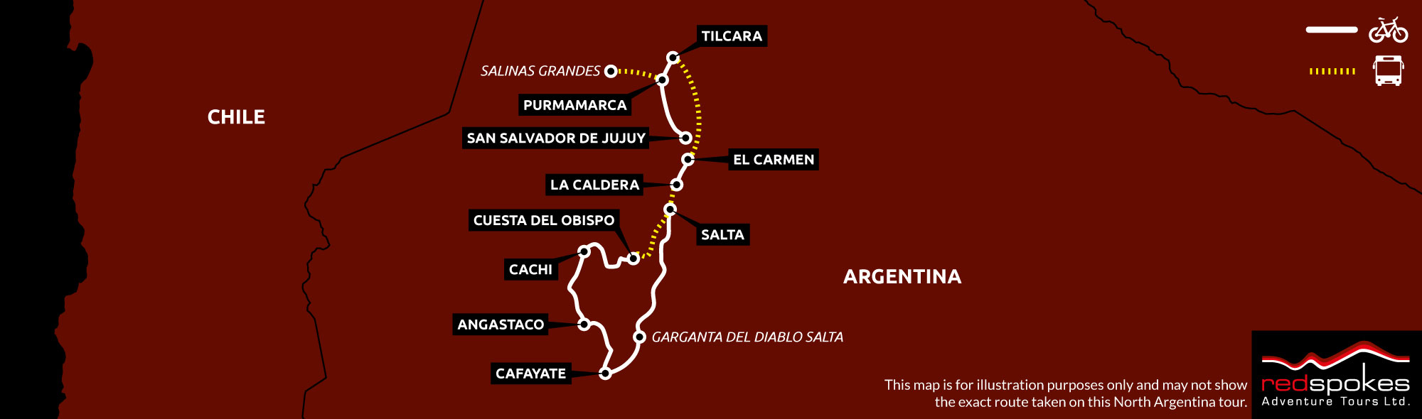 Example route for this Argentina cycling holiday