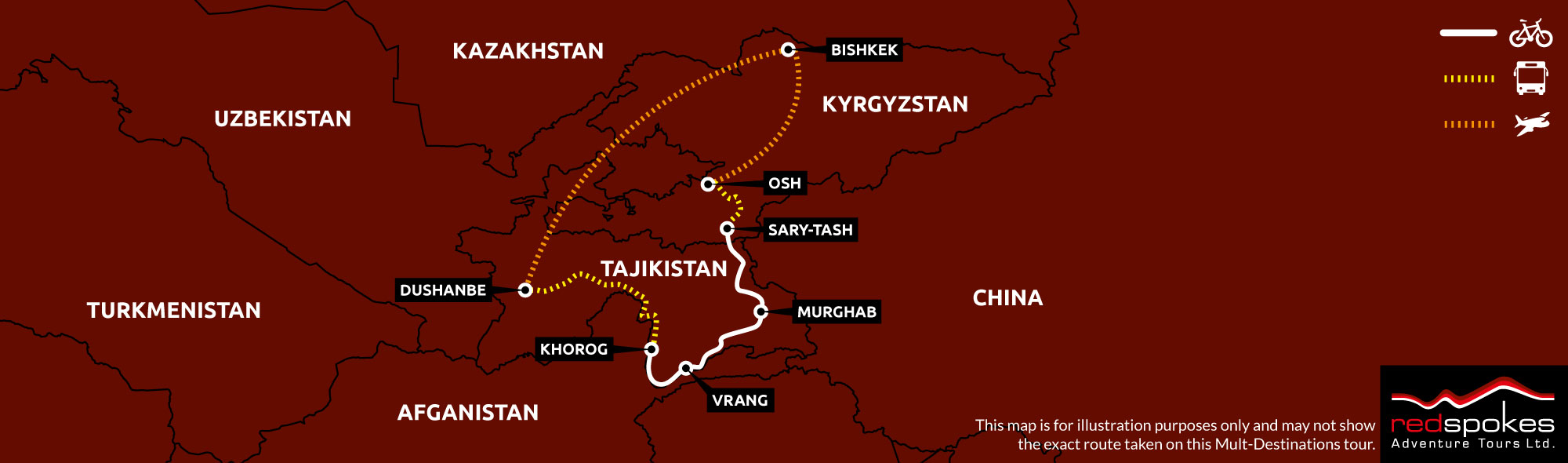 Example route for this Kyrgyzstan cycling holiday