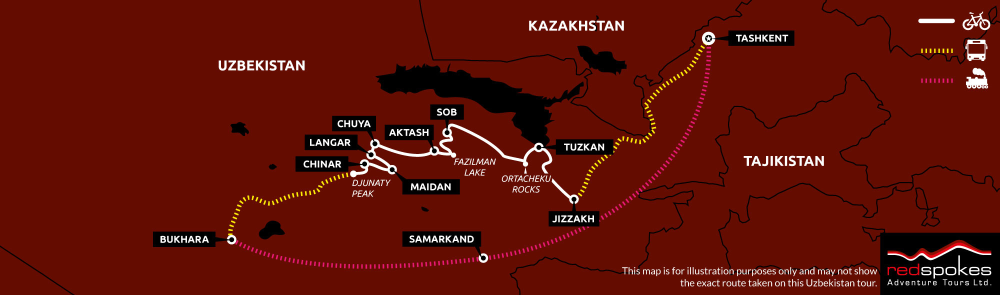Example route for this Uzbekistan cycling holiday