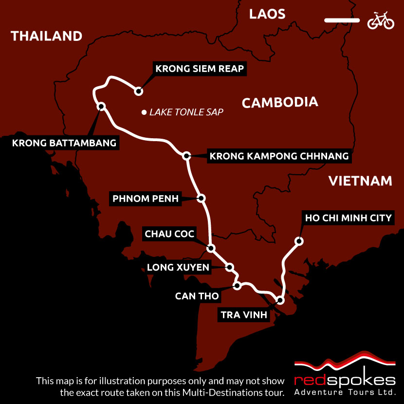 Example route for this Cambodia cycling holiday
