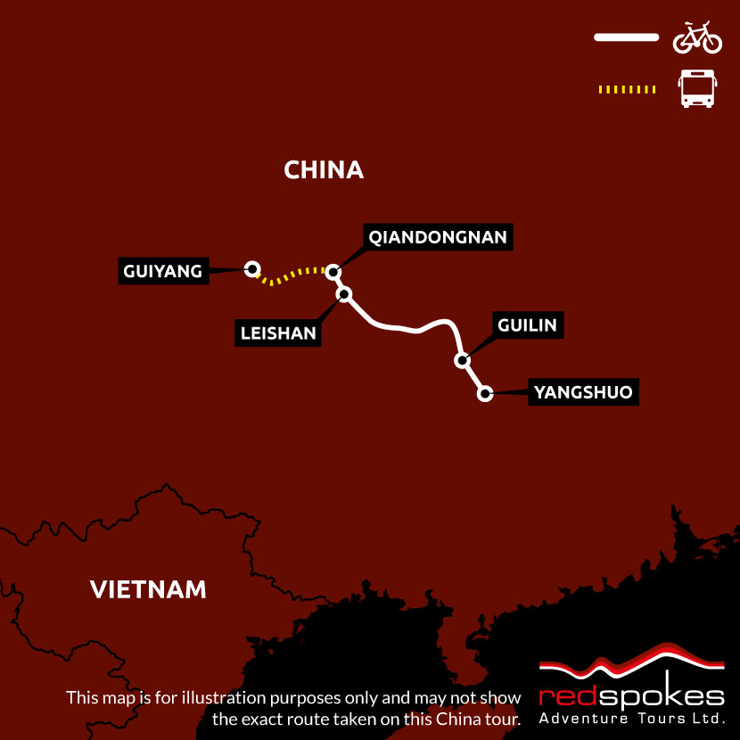 Example route for this China cycling holiday