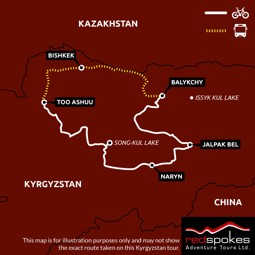 Example route for this Tajikistan cycling holiday