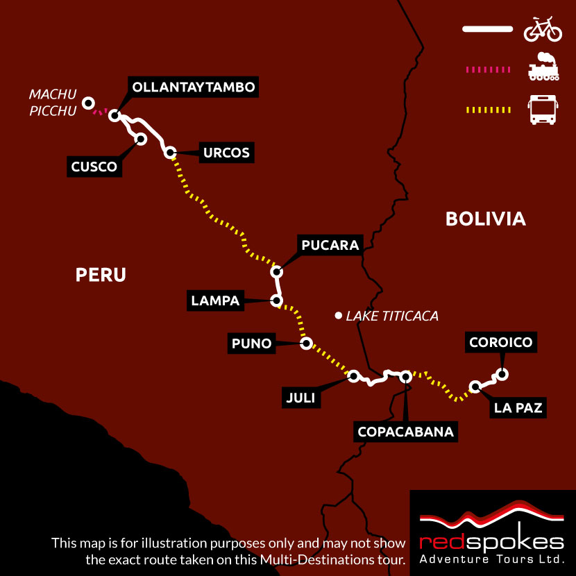 Example route for this Bolivia cycling holiday