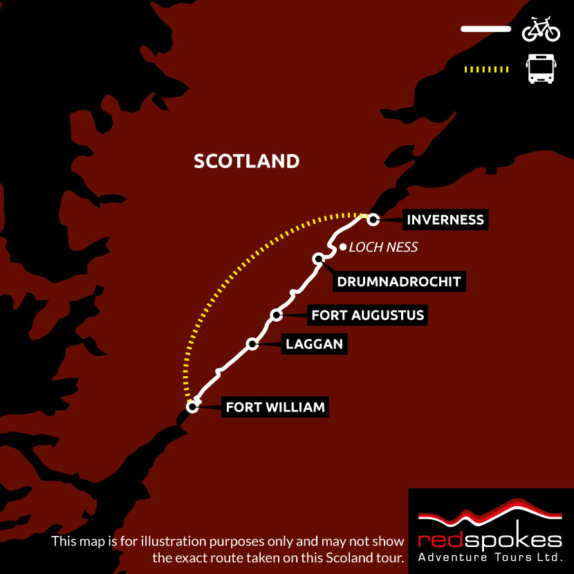Example route for this Scotland cycling holiday