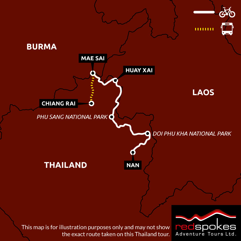 Example route for this Thailand cycling holiday