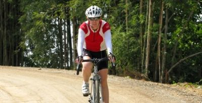 Heather McCulloch Cycling on the  tour with redspokes