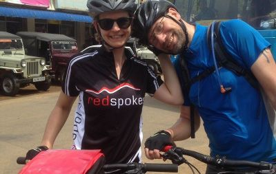 Nigel & Ceri Cycling on the  tour with redspokes
