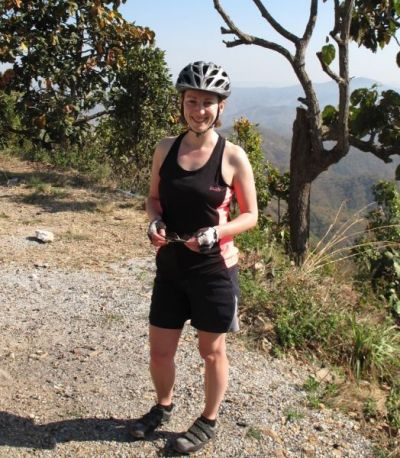 Julie Watkinson Cycling on the  tour with redspokes