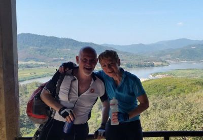Karen Macauley Cycling on the Thailand & Laos tour with redspokes