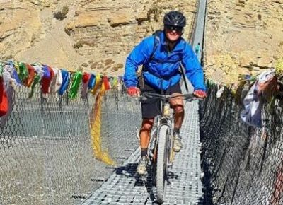 Andre Schmid Cycling on the Nepal tour with redspokes