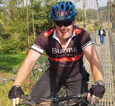 Paul Goulding Cycling on the Nepal tour with redspokes