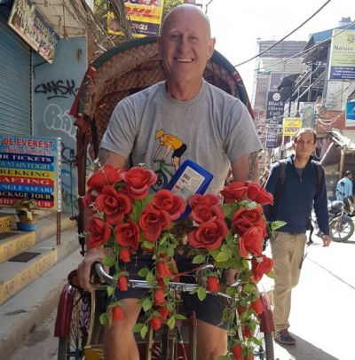 Roger Hill Cycling on the Nepal tour with redspokes