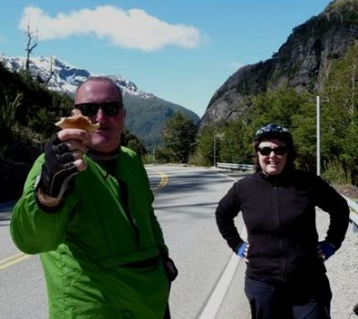 Mary and Donald Cycling on the Chile & Argentina tour with redspokes