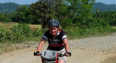 Kathryn Mayne Cycling on the Burma - Mountains, Beaches & Stupas tour with redspokes