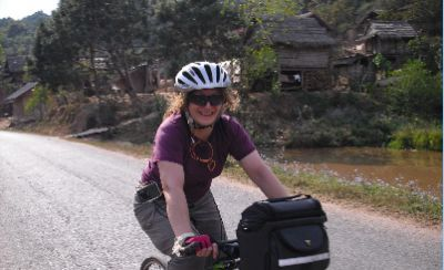 Anita Gupta Cycling on the Laos - South to North tour with redspokes