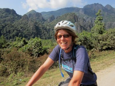 Ann Southall Cycling on the Thailand & Laos tour with redspokes