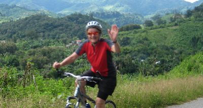 Anne Barry Cycling on the India - Kerala tour with redspokes