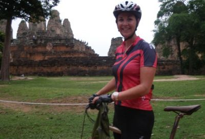Claire Waddington Cycling on the  tour with redspokes