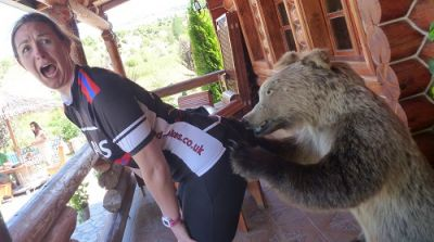 Claire Waddington Cycling on the Albania - North to South tour with redspokes