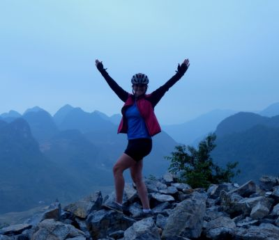 Renea Jaeger Cycling on the Vietnam N.E tour with redspokes