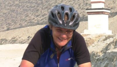 Kathryn Mayne Cycling on the Nepal tour with redspokes