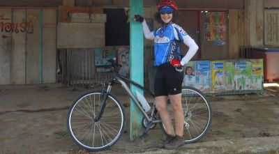 Carol Pelham-Thorman Cycling on the  tour with redspokes