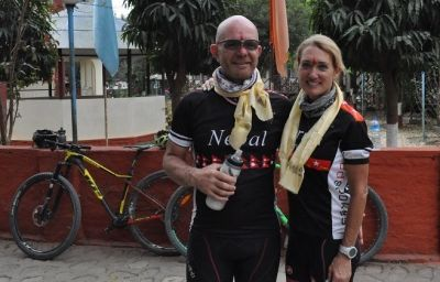 Steve Lahey Cycling on the Nepal tour with redspokes