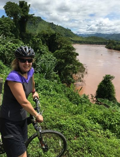 Gillian Pastuch Cycling on the Thailand & Laos tour with redspokes