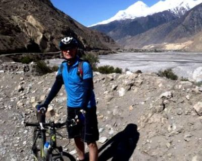 Graeme Guilford Cycling on the Nepal tour with redspokes