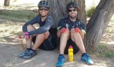 Holly Notcutt and Ed Anderson Cycling on the  tour with redspokes