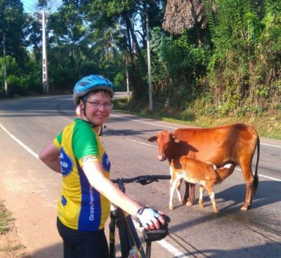 Annette Meier Cycling on the  tour with redspokes