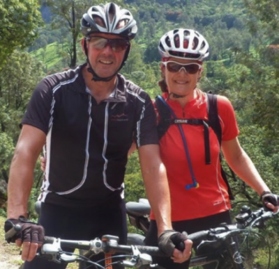 John and Sara Blyth Cycling on the  tour with redspokes