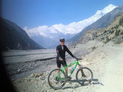 Kieran Kelleher Cycling on the Nepal tour with redspokes