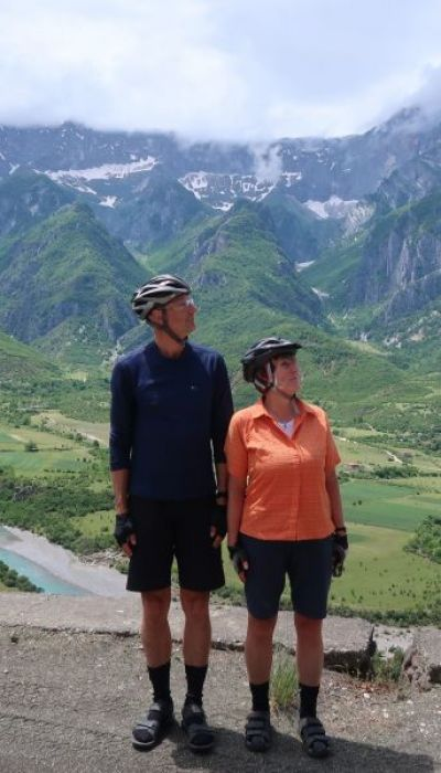 Clare & Mark Elsegood Cycling on the  tour with redspokes