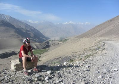 Sarah Todd Cycling on the Tajikistan to Kyrgyzstan   tour with redspokes