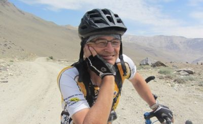 Mathis Trepp Cycling on the Tajikistan to Kyrgyzstan   tour with redspokes